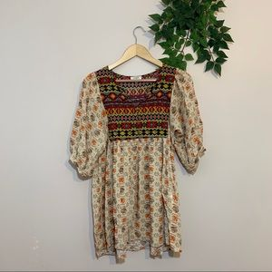 Umgee Short Sleeve Boho Print Dress Small S